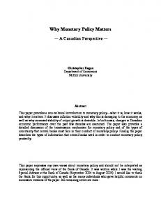 Why Monetary Policy Matters