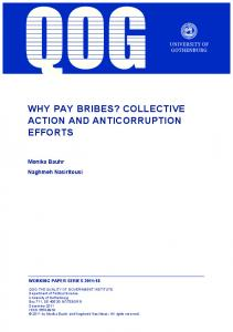 WHY PAY BRIBES? COLLECTIVE ACTION AND ANTICORRUPTION EFFORTS