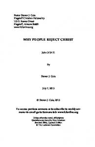 WHY PEOPLE REJECT CHRIST
