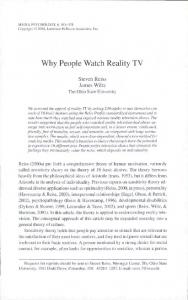 Why People Watch Reality TV