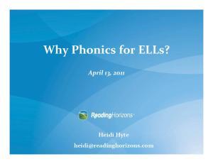 Why Phonics for ELLs?