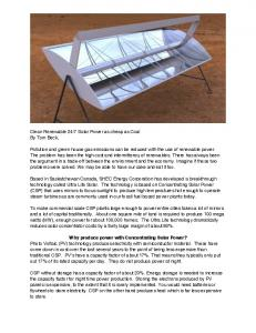 Why produce power with Concentrating Solar Power?