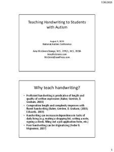 Why teach handwriting?