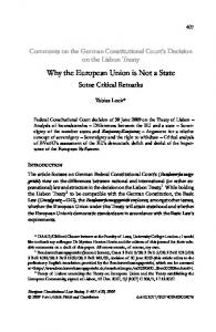 Why the European Union is Not a State