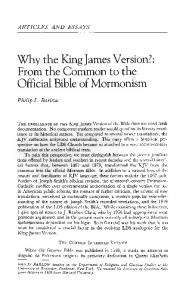 Why the King James Version?: From the Common to the Official Bible of Mormonism
