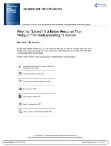 Why the Sacred Is a Better Resource Than Religion for Understanding Terrorism