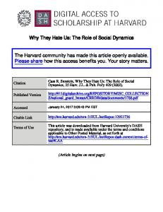 Why They Hate Us: The Role of Social Dynamics