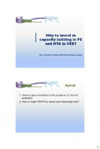 Why to invest in capacity building in PE and HTA in CEE?