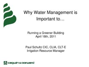 Why Water Management is Important to