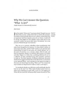 Why We Can t Answer the Question: What Is Art?