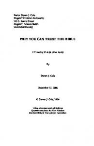 WHY YOU CAN TRUST THE BIBLE