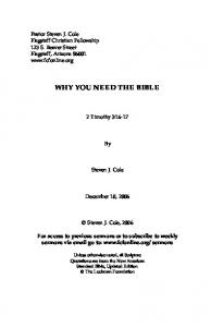 WHY YOU NEED THE BIBLE