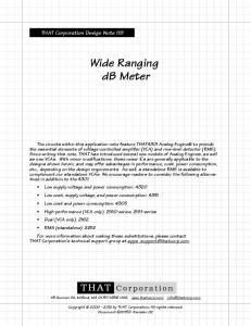 Wide Ranging db Meter