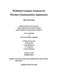 Wideband Compact Antennas for Wireless Communication Applications