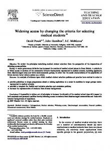 Widening access by changing the criteria for selecting medical students $