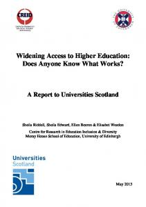 Widening Access to Higher Education: Does Anyone Know What Works? A Report to Universities Scotland
