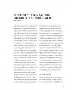 WIE HOFER ZU SEINEM BART KAM UND WO EIN RIESE ZERLEGT WIRD Susanne Gurschler