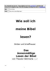 Wie soll ich. meine Bibel. lesen?