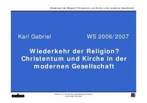 Wiederkehr der Religion? Christentum und Kirche in der modernen Gesellschaft