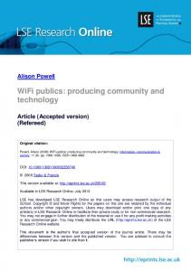 WiFi publics: producing community and technology
