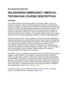 WILDERNESS EMERGENCY MEDICAL TECHNICIAN COURSE DESCRIPTION