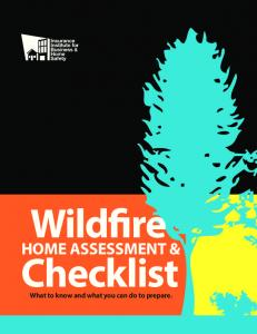 Wildfire. Checklist HOME ASSESSMENT & What to know and what you can do to prepare
