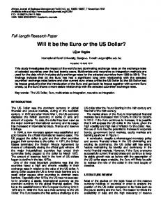 Will it be the Euro or the US Dollar?