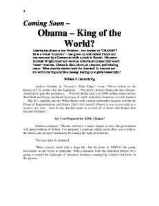 William F. Dankenbring. Are You Prepared for KING Obama?