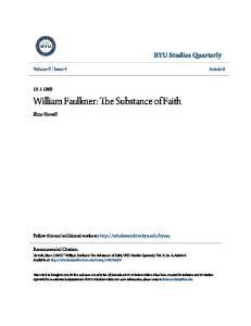 William Faulkner: The Substance of Faith