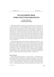 WILLIAM HARRISON RIKER: TWÓRCA POZYTYWNEJ TEORII POLITYKI