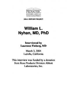 William L. Nyhan, MD, PhD