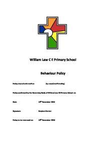 William Law C E Primary School. Behaviour Policy