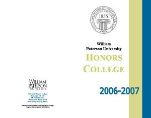 William Paterson University HONORS COLLEGE