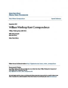 William Winthrop Kent Correspondence