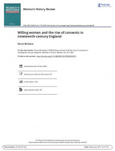Willing women and the rise of convents in nineteenth-century England