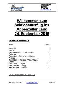 Willkommen zum Sektionsausflug ins Appenzeller Land 24. September 2016