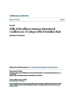 Wills of Movables in American International Conflicts Law: A Critique of the Domiciliary Rule