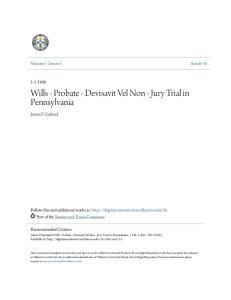 Wills - Probate - Devisavit Vel Non - Jury Trial in Pennsylvania