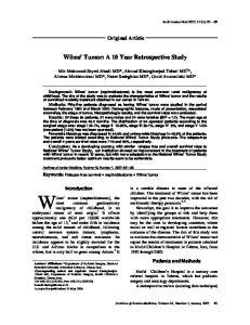 Wilms Tumor: A 10 Year Retrospective Study