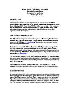 Wilson Harbor Yacht Racing Association Thursday Evening Races Competitor s Handbook Revised April 17, 2011