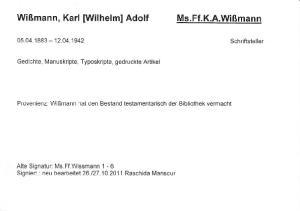 Wißmann, Karl [Wilhelm] Adolf