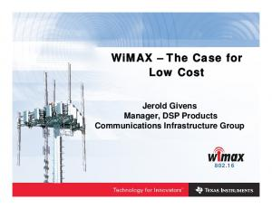 WiMAX The Case for Low Cost