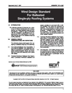 Wind Design Standard For Ballasted Single-ply Roofing Systems