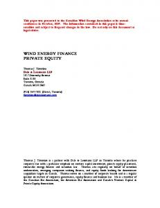 WIND ENERGY FINANCE PRIVATE EQUITY
