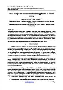 Wind energy : site characterization and application of remote sensing