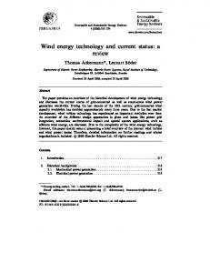 Wind energy technology and current status: a review