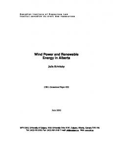 Wind Power and Renewable Energy in Alberta