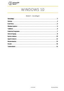 WINDOWS 10. Modul 1 - Grundlagen