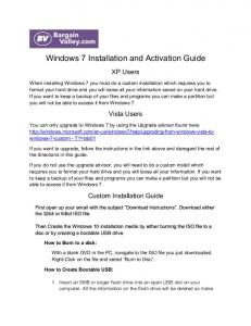 Windows 7 Installation and Activation Guide