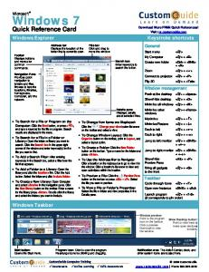 Windows 7 Quick Reference Card